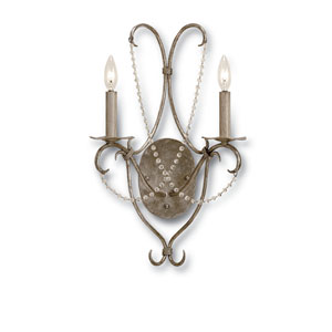 Crystal Lights Silver Leaf Two-Light Wall Sconce