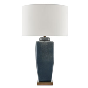 Stardust Blue, White Speckle, and Antique Brass One-Light Table Lamp