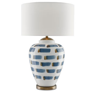 Brushstroke White and Blue and Antique Brass One-Light Table Lamp