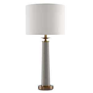 Rhyme Speckled Griffin Gray and Antique Brushed Brass One-Light Table Lamp