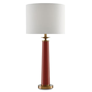 Rhyme Speckled Rave Red and Antique Brushed Brass One-Light Table Lamp