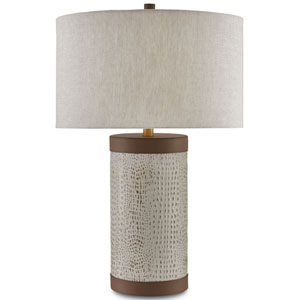 Baptiste Ivory and Brown and Brushed Brass One-Light Table Lamp