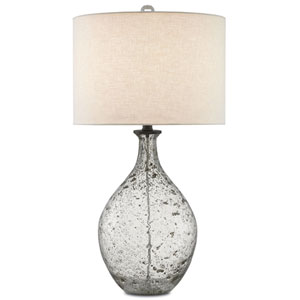 Luc Clear Speckled Glass and Steel Gray One-Light Table Lamp