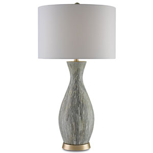 Rana Light Green, White Drip Glaze and Silver Leaf One-Light Table Lamp
