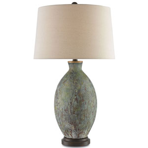 Remi Green, Dark Red Drip Glaze, and Bronze Gold One-Light Table Lamp