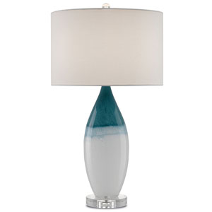 Julien White, Blue, Polished Nickel, and Clear One-Light Table Lamp