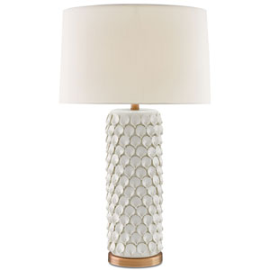 Calla Lily Cream and Antique Brass One-Light Table Lamp