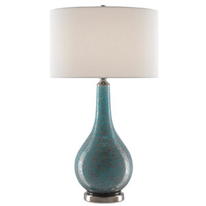 Antiqua Turquoise and Antique Nickel One-Light Table Lamp