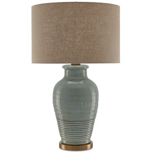 Guinevere Blue Gray and Antique Brass One-Light Table Lamp