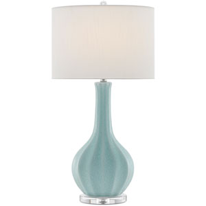 Sionna Light Blue and Polished Nickel and Clear One-Light Table Lamp