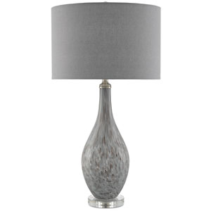 Lupo Gray and Plum Pattern and Satin Nickel One-Light Table Lamp
