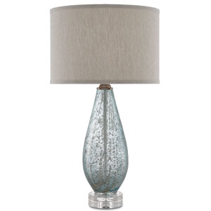 Optimist Pale Blue Glass and Clear One-Light Table Lamp