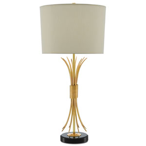 Gaine Polished Brass and Black One-Light Table Lamp