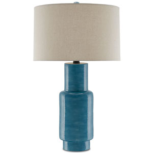 Janeen Blue and Satin Black One-Light Table Lamp