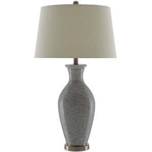 Anona Roman Earth Gray and Black and Bronze One-Light Table Lamp