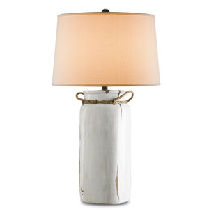 Sailaway White Distress Crackle and Shirley Rust Table Lamp with Natural Rope