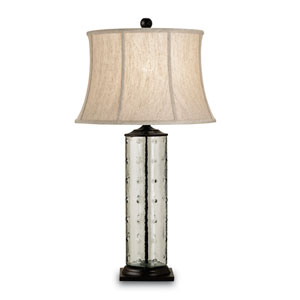 Rossano Bronze/Recycled Glass One-Light Table Lamp with Oatmeal Linen Shade