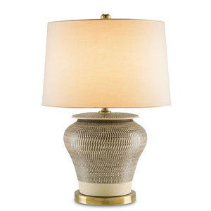 Winkworth Cream and Brown Antique Brass Table Lamp