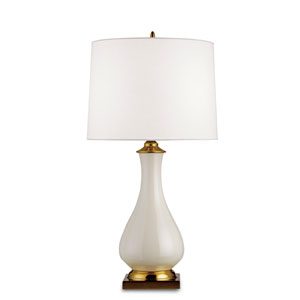 Lynton Cream Crackle/Brass One-Light Table Lamp with Off White Linen Shade