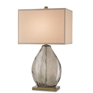 Brooke Dark Smoky and Coffee Brass One-Light Table Lamp
