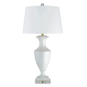 Timeless White One-Light Table Lamp with White Parchment Shade