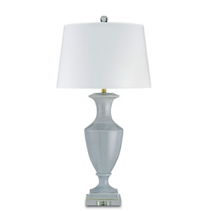 Timeless Gray Blue One-Light Table Lamp with White Parchment Shade