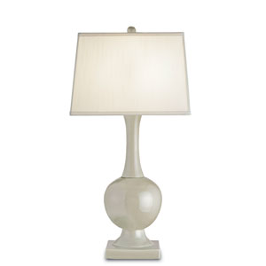 Downton Pale Celadon Crackle One-Light Table Lamp with Off White Shantung Shade