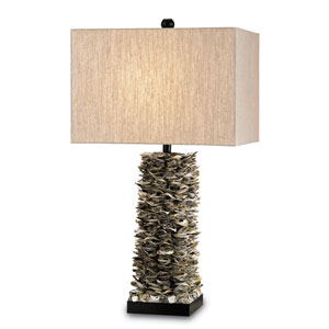 Villamare Natural/Satin Black One-Light Table Lamp with Oatmeal linen Shade