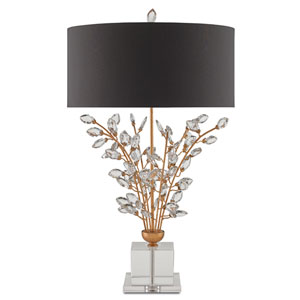 Forget-Me-Not Chinois Gold Leaf Two-Light Table Lamp