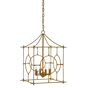 Lynworth Textured Gold Four-Light Lantern Pendant