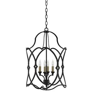 Charisma French Black Four-Light 16-Inch Lantern Pendant