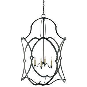 Charisma French Black Four-Light 30-Inch Lantern Pendant