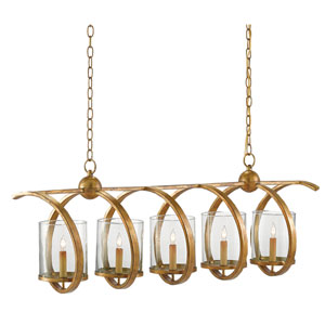 Maximus Washed Gold Leaf Five-Light Chandelier