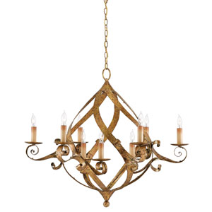 Gramercy Gold Leaf Nine-Light Chandelier