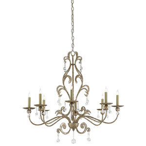 Pompeii Annatto Antique Silver Eight-Light Chandelier