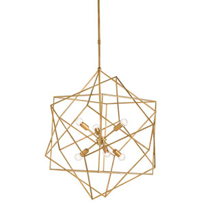 Aerial Antique Gold Leaf Six-Light Chandelier