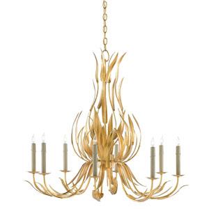 Longleaf Dark Contemporary Gold Leaf Eight-Light Chandelier