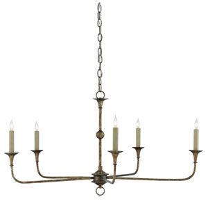 Nottaway Pyrite Bronze Five-Light Chandelier