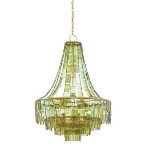 Vintner Dark Contemporary Gold Leaf and Green Seven-Light Chandelier