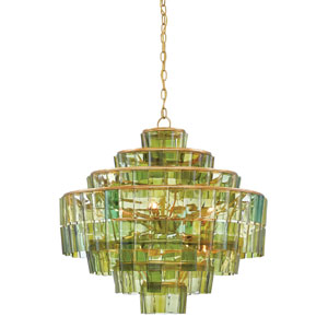 Sommelier Dark Contemporary Gold Leaf and Green Eight-Light Chandelier
