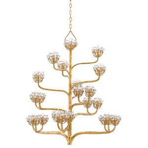 Agave Americana Dark Contemporary Gold Leaf 22-Light Chandelier