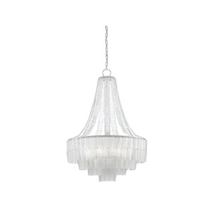 Vintner Blanc Contemporary Silver Leaf and Opaque White Seven-Light Chandelier