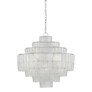 Sommelier Blanc Contemporary Silver Leaf and Opaque White Eight-Light Chandelier