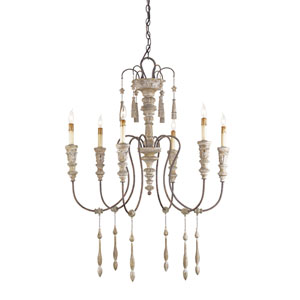 Hannah Stockholm White/Rust Six-Light Small Chandelier