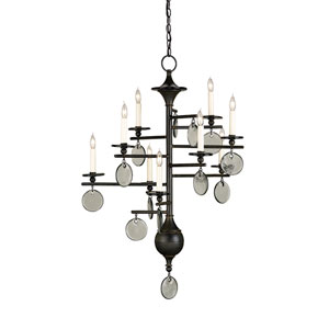 Sethos Old Iron/Recycled Glass Nine-Light Chandelier