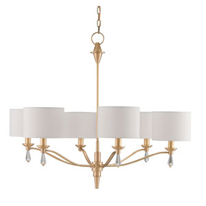Bonnington Satin Brass Six-Light Chandelier