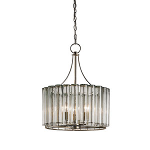 Bevilacqua Silver Leaf Three-Light Drum Pendant