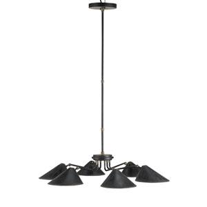 Fainlight Black Smith Six-Light Chandelier with Cupertino Interior Shade