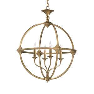 Bellario Orb Antique Brass Four-Light Chandelier