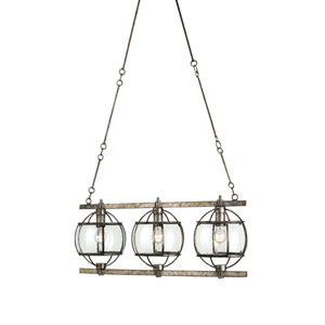 Broxton Rectangular Dirty Silver Three-Light Pendant